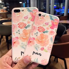USLION Beautiful Peach Blossom Flower Phone Case For iPhone 7 7 Plus Watercolor Painting Soft TPU Mobile Phone Case Cover Bags