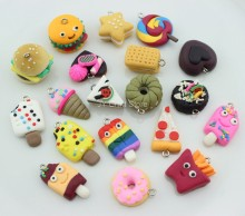 20pcs Kawaii FIMO Clay Craft Charms Miniature Cookies,Donuts,Burgers,Creams,Sandwich Cabochons DIY Pendant Home Decor Ornament