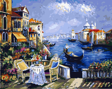 Frameless Pictures Painting By Numbers Digital Canvas DIY Oil Painting Landscape Mediterranean Sea Pattern Home Decor