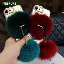 YESPURE Mirror Cell Phone Case Accessories Pink Fur Ball Full Covers for Iphone 6plus/6s Plus Lady Diamond Fundas Capa Red(China)