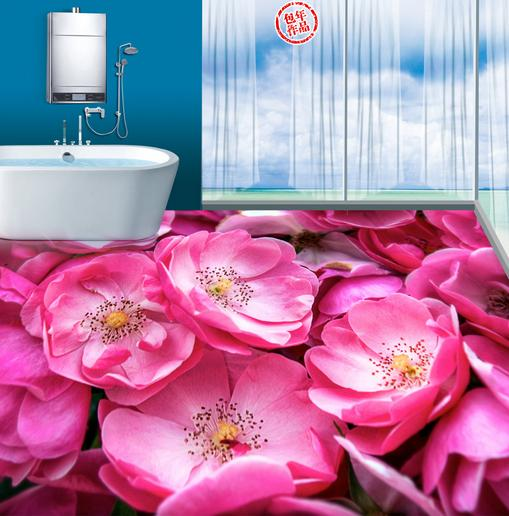 customize 3d flooring Pink roses wallpaper 3d floor tiles bathroom wallpaper self adhesive wallpaper<br><br>Aliexpress