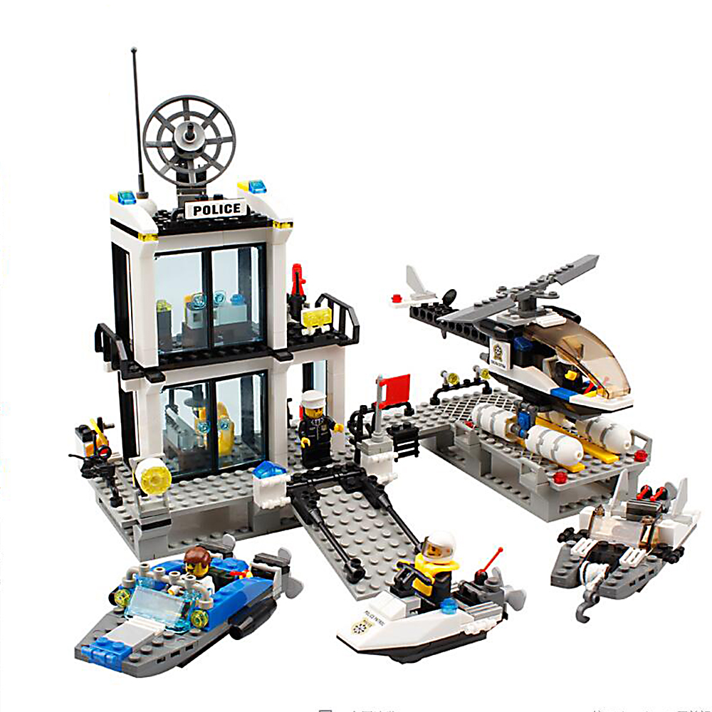 Toy Building Blocks Figures Gift for Kids Police Station on the Sea Building Bricks Kit Assemble Set<br><br>Aliexpress