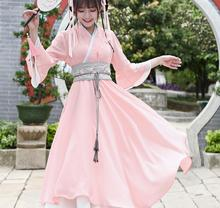 Summer National Daily Women Dress Improved Han Chinese Clothing Vintage Cross Collar Double Dress Expansion Han Element Dress(China)