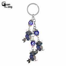 Wholesale Antique Vintage Silver Owl Charms Keychain Blue Glass Bead Keyring For Women Bag Accessories(China)