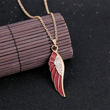 Personality Crystal Enamel Glaze Angle Wing Short Pendant Necklace For Women N831(China)