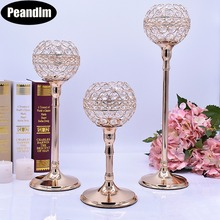 PEANDIM Crystal Wedding Decoration Table Centerpieces Strands Candlestick Candelabra Base Candle Holders(China)