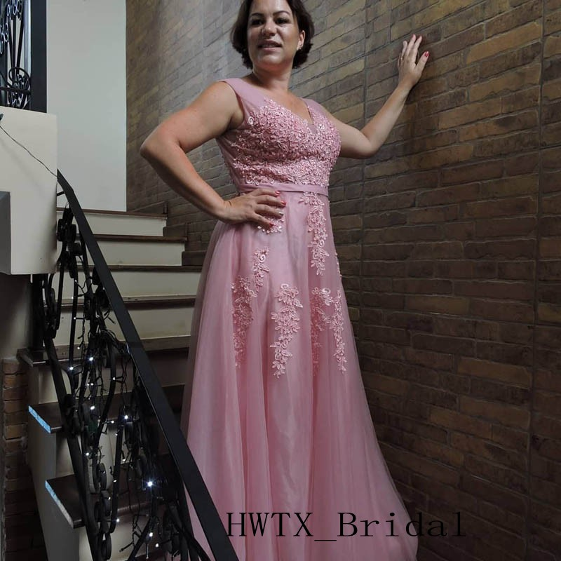Pink Lace Tulle Mother Of Bride Dresses 2019 Cheap V Neck Backless A Line Plus Size Long Wedding Party Prom Dress Custom Made