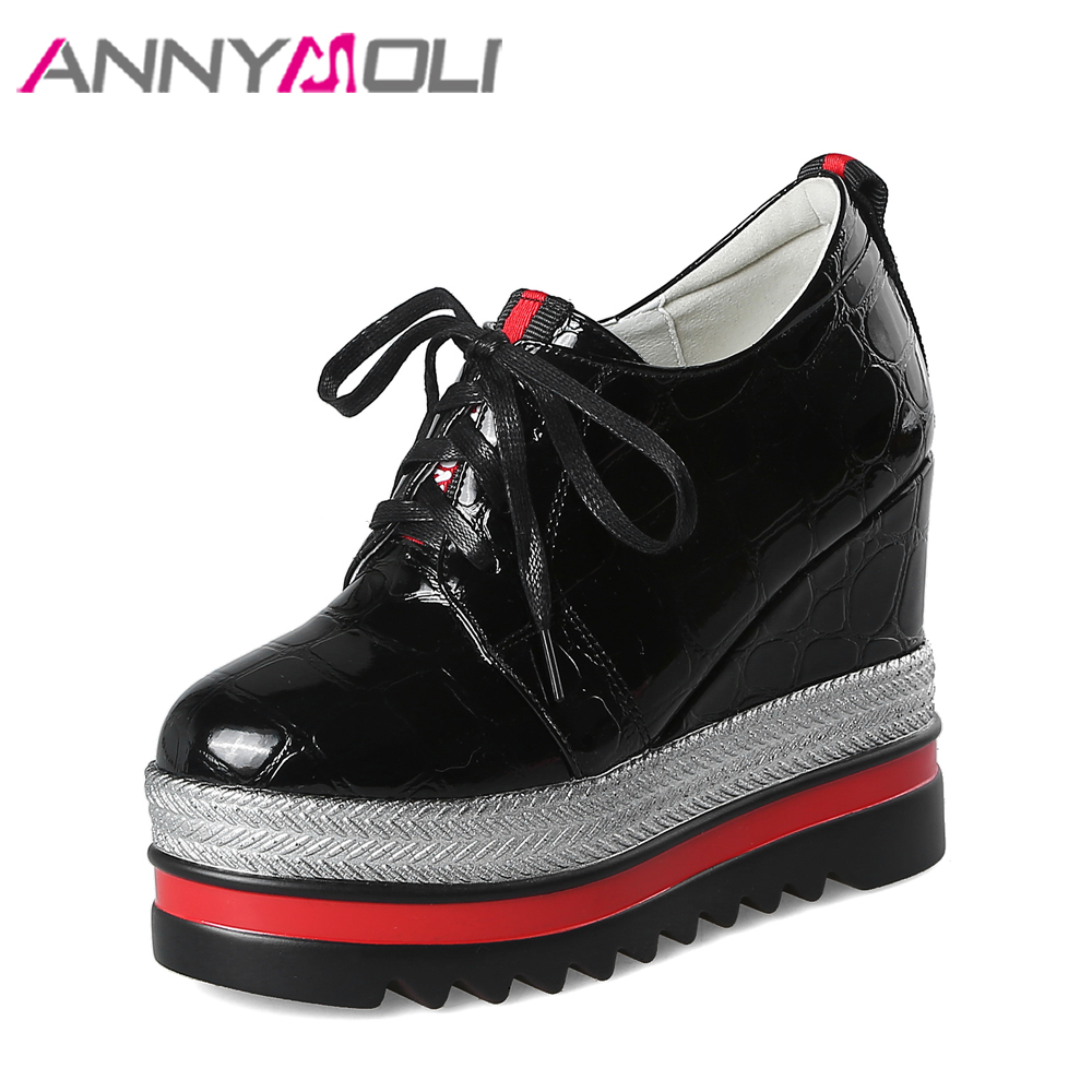 ANNYMOLI Platform Wedges High Heels Lace Up Platform Shoes Wedge Heels Pu Patent Leather Punk Handmade Shoes Ladies Brand Shoes <br>