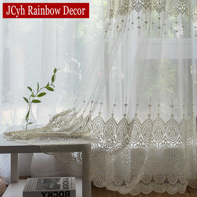Embroidery White Tulle Curtains For Living Room Bedroom Kitchen Lace Voile Sheer Curtain Window Treatment Drapes Rideaux Voilage