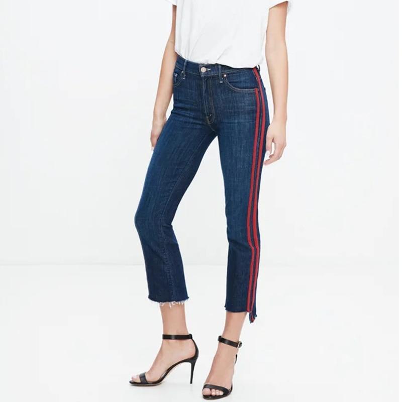 Women High Waist Flare Ankle Length Jeans Preppy High Waist Side Striped Jeans with Stepped Hem Cropped Jeans Deinm PantsÎäåæäà è àêñåññóàðû<br><br>