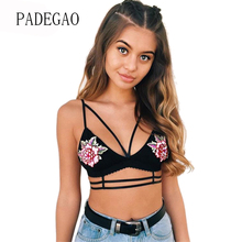Sexy Black Flower Embroidered Tanks Camis Crop Tops Bra Bustier Tank 2017 Summer Outerwear Halter Vest Clothes(China)