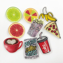Free Shipping Cute Acrylic Badges Pins For Clothes/Bag/Shoe Decorating Badge Backpack Fruit Pizza Pin Button Acrylic Brooch