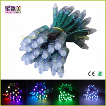 100pcs wholesale Full Color DC5V/DC12V 12mm WS2811 IC RGB Led Module String Green wire Waterproof IP68 Digital LED Pixel Light