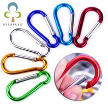 20Pcs/set Colorful Aluminum Spring Carabiner Snap Hook Hanger Keychain Travel Kit for Camping Hiking #4 #5 #6 GYH