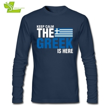 Keep Calm Fear The Greek Is Here Adult T Shirt Printed Loose T-Shirt Men Long Sleeve O Neck Camisetas Teenage Unique Clothing