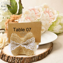 free shipping 12pcs rustic theme burlap bow place card holder wooden table card holder burlap wedding decor supplie party gifts
