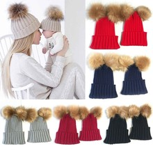 2017 Winter Fashion Mom And Baby Kids Double Ball Winter Beanie Hat Cap Wool Knit Fur 2PC Set
