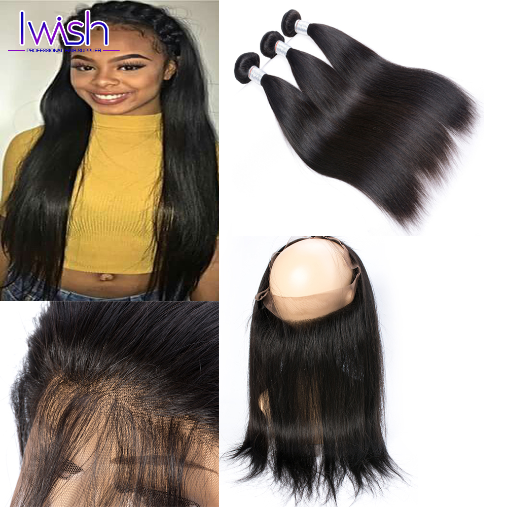 Peruvian Straight Virgin Hair 2 Bundles With Frontals Pre Plucked 360 Frontal With Bundles Human Hair Bundles With 360 Closure<br><br>Aliexpress