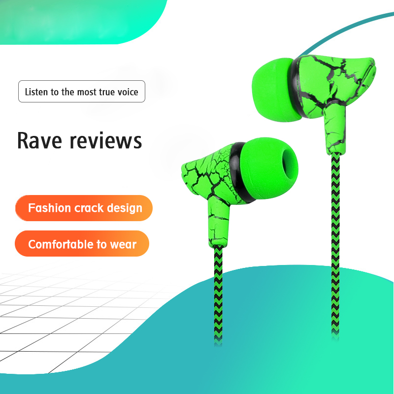 Crack Braided HeadsetS Wired Headphone with Microphone 3.5mm Wired Control Super Bass Universal for Android iPhone Xiaomi