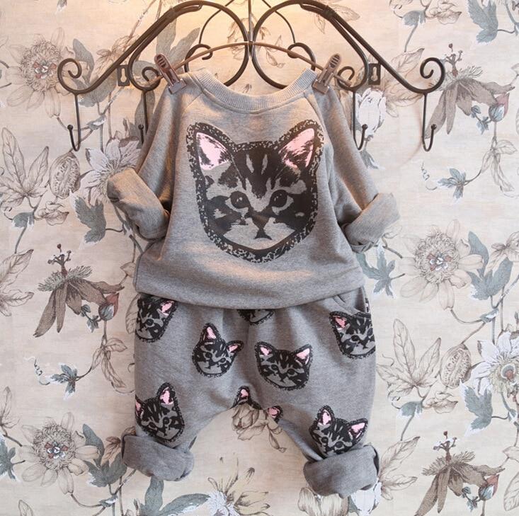 New Autumn Girls clothes sets childrens cartoon cat printing long sleeve T-shirt + pants kids clothing  hoodies Sport suit set<br><br>Aliexpress
