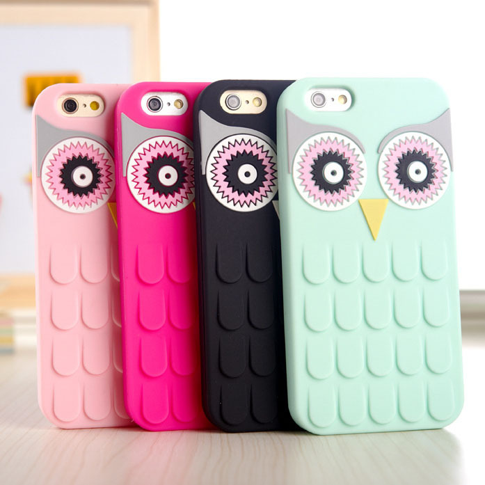 New Arrival 3D Cute Cartoon OWL Soft Silicon Rubber Phone Case Cover Apple iPhone 7 7Plus 4 4S 4G 5 5S 5G 6 6S 6 Plus 5.5