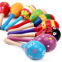 1 Pcs Colorful Wooden Toys Noise Maker Musical Baby Toys Rattles Baby Toy For Children Musical Instrument Learnning Toy(China)