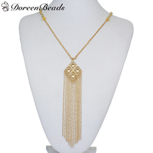 "DoreenBeads New Fashion Necklace Link Cable Chain Gold color With Rhombus Pattern Tassel Pendant 45.8cm(18"") long, 1 PC"