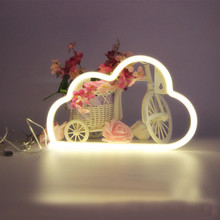 2017 New LED Cloud Neon Night Light Cute Cloud Night Lamp For Home Kids Children Lamp Holiday Indoor Decor(China)