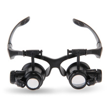 Black Magnifying Glasses Loupe Magnifier 10x 15x 20x 25x For Jeweler Watchmaker Repair Magnifier Glasses With 2 LED Lights