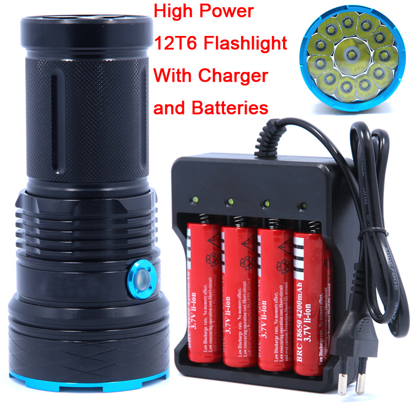 25000 lumens light King 12T6 LED flash light 12*XM-L T6 LED Flashlight Torch Lamp Light For Hunting Camping use 4*18650 battery<br>