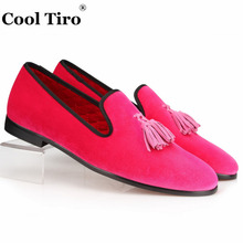 Pink Men Velvet Shoes Slip Slippers Prom and Wedding Men's Dress Loafers Tassel Handmade Male's Flat Casual Shoes Formal Luxury(China)