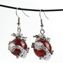 Kraft-beads Silver Plated Red Agates Round Bead Inlay Chinese Dragon Vintage Drop Earrings Fashion Jewelry