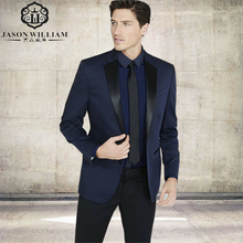 LN201 2017 Custom made navy blue costume homme men suit smoking ternos masculino wedding suits for men white mens (Jacket+Pants)(China)