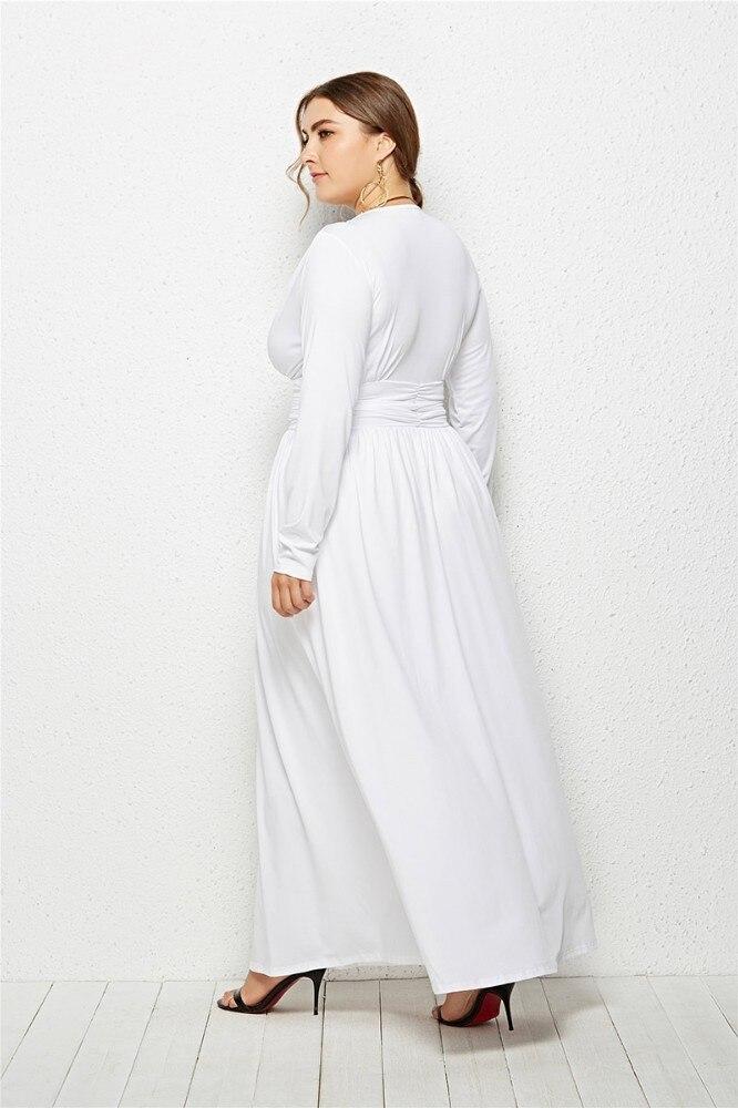 2808e073c9694 Dinminsta Autumn Women Plus Size Long Maxi Dress Female V Neck Full Sleeve  Elastic High Waist Frocks Design 3XL Casual Dresses