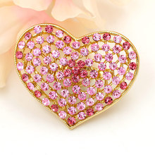 Factory Direct Sale Pink Red Blue Crystal Rhinestones Heart Brooch Pins in assorted colors