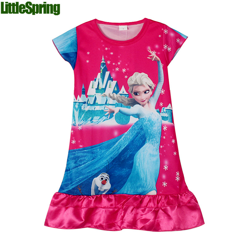 New 2017 summer style Anna&amp;Elsa dress children clothing girls dress kids girls princess dress girl party mini dresss nightgown<br><br>Aliexpress