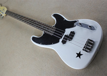 White Electric Bass Guitar with 4 Strings,Black Pickguard,Five-pointed Star Patreen,Offer Customized