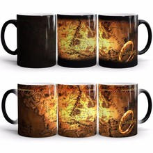 Light Magic Lord of Rings map Mug Color Changing Sensitive Ceramic Tea coffee mugs cup for best Friends Gift(China)