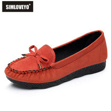 SIMLOVEYO Ladies Casual shoes Soft and Warm Steel toe Stud Bow Fashion Elegant lady job shoes New arrivals Flats Shoes Warm B039(China)