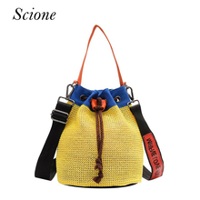 Women Shoulder Bags Straw Beach Bucket Bag Bohemian Ladies Travelling Woven Handbags for Summer Tote Handmade Messenger Bag(China)