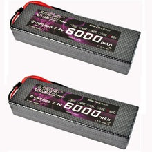2pcs HRB Lipo Battery 2S 7.4V 6000mah 60C Max 120C Hard Case AKKU Bateria For RC 1/10 Car Truck Drone Helicopter(China)
