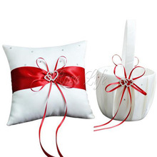 2Pcs/set Red Satin Wedding Ceremony Decorations Ring Pillow + Flower Basket Party Decor Products Wholesales
