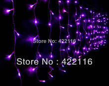 3.5m Purple LED Holiday Lights luces de navidad String Strip Icicle Lights for PARTY CHRISTMAS WEDDING BEDROOM Decoration(China)