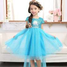 Snow queen elsa elza baby girls Cosplay Dress Costume princess anna Dress Kids clothes Halloween Christmas dress for children(China)