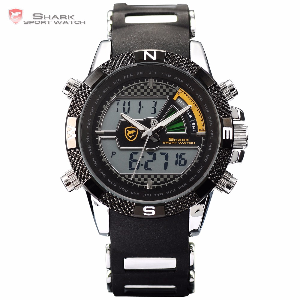 Porbeagle Shark Sport Watch Digital Date Stopwatch Analog Flight Silicone Strap Men Outdoor Quartz Military Army Watches / SH179<br>