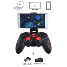 Wholesale Terios t3+ Wireless Joystick Gamepad Game Controller bluetooth BT3.0 Joystick for Mobile Phone + Tablet TV Box Holder(China)