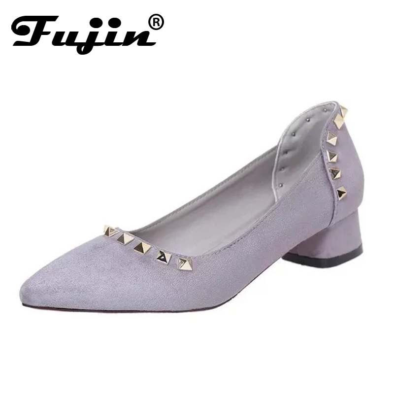 Fujin square High Heels zapatos mujer tacon 3cm rivet Heels 2017 New Spring Womens Shoes nude pointed pumps wedding dress shoes<br><br>Aliexpress