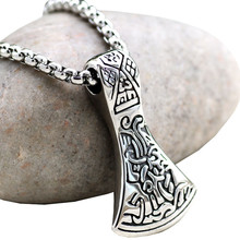 Retro Legendary Viking Mammen Axe Amulet Pendant Necklace Stainless steel For Men Style Nordic Talisman Jewelry