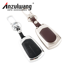 ANZULWANG Car Key Cover Case Zinc Alloy Leather Buckle Case For Cadillac CT6 SRX ATSL XTS XT5 2017 New Style Key Cover Case