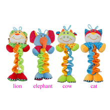 1Pcs 37CM Cute Cartoon Animal Rattle Doll Toy Plush Lion Elephant Cow Cat Baby Accompany Grasp Toy with Music Box Random Type(China)
